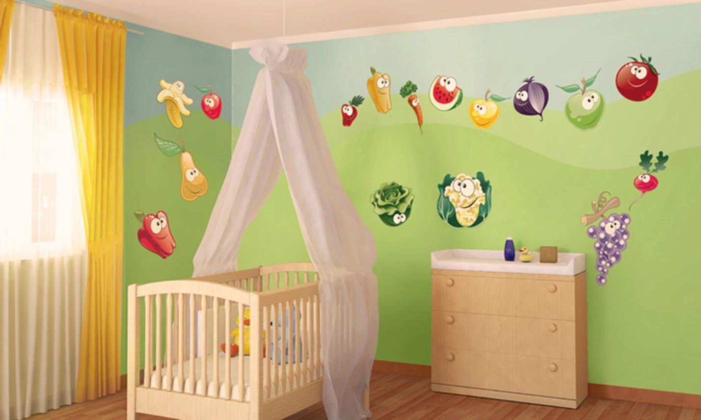 Stickers murali bambini cameretta frutta e verdura - Adesivi murali per camerette bimbi ...